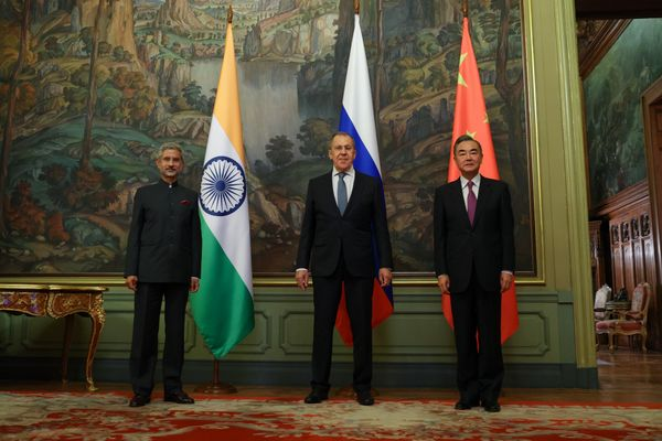 India's Foreign Minister Subrahmanyam Jaishankar, Russia's Foreign Minister Sergei Lavrov and China's State Councillor Wang Yi