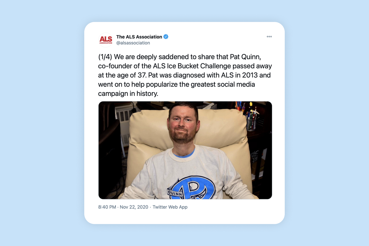 Pat Quinn, co-founder of the ALS Ice Bucket Challenge, dies aged 37