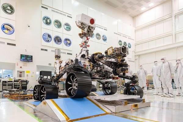 In a clean room at NASA's Jet Propulsion Laboratory in Pasadena, California, engineers observed the first driving test for NASA's Mars 2020 rover on Dec. 17, 2019.