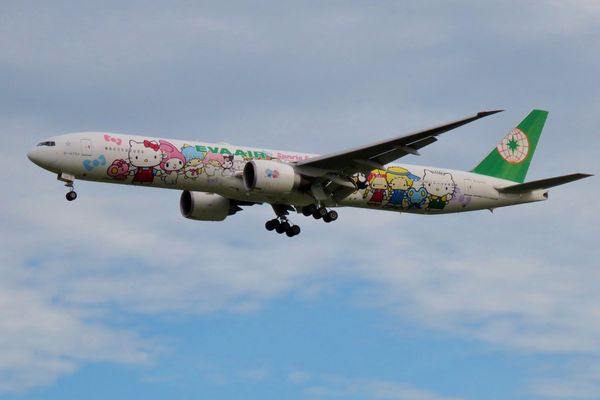EVA Air Boeing 777-300ER with Hello Kitty painting