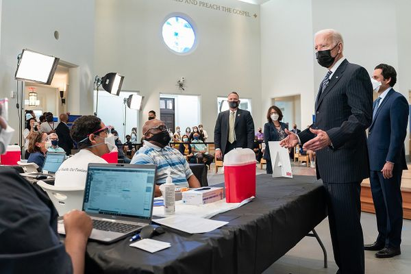 Joe Biden  stopped by a vaccination clinic at the Virginia Theological Seminary, April 6, 2021