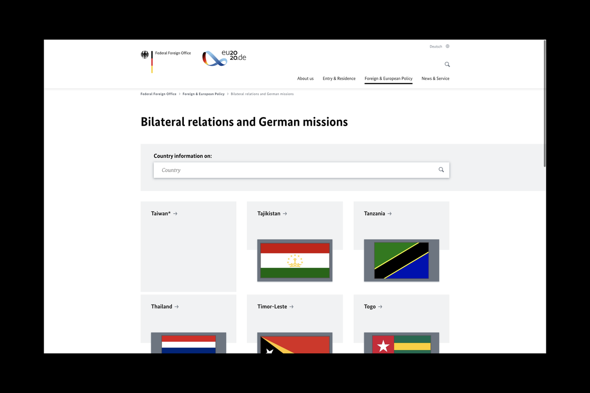 Germany accused of discrimination after the removal of the Taiwan flag from the Foreign Ministry website