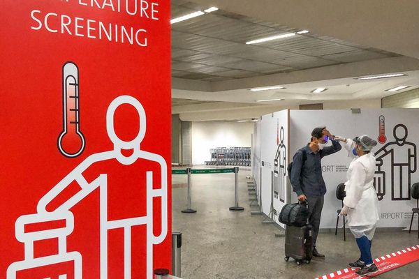 Temperature screening at São Paulo International Airport
