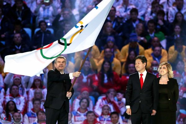Thomas Bach, during the closing ceremony of the Sochi 2014 Winter Olympic Games