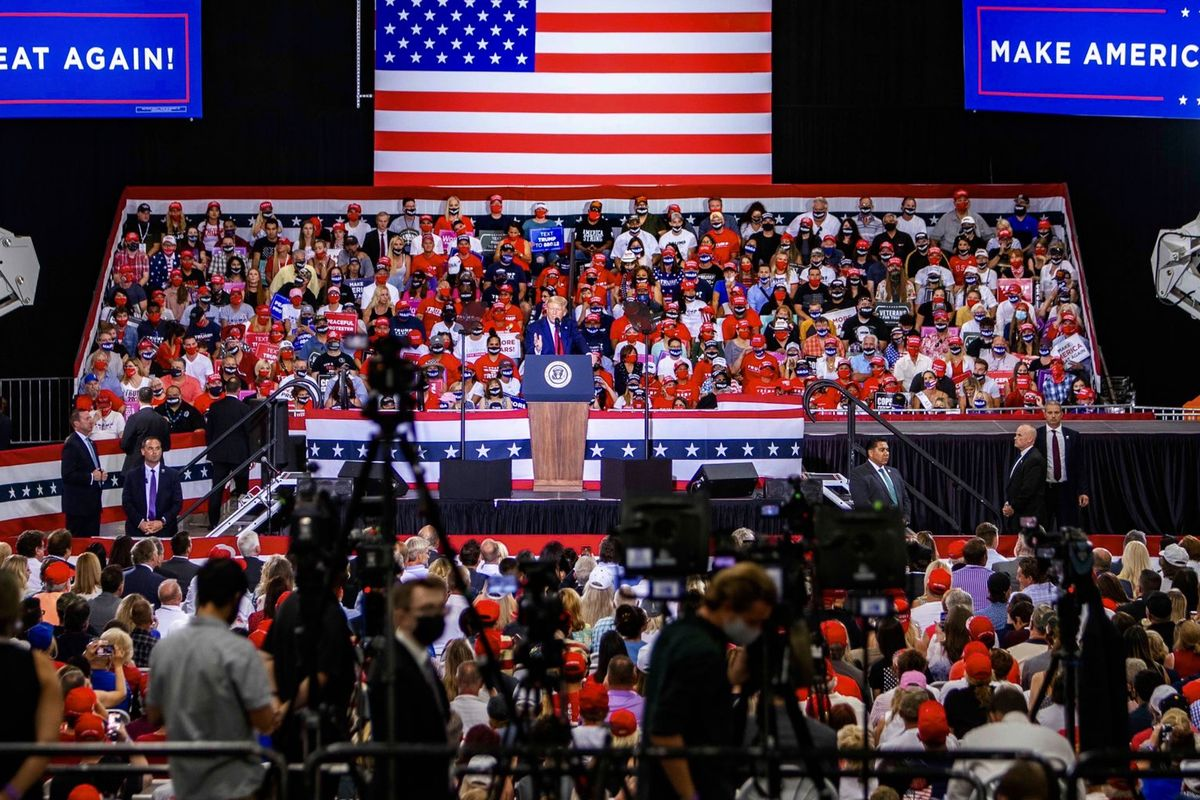 Trump held indoor rally and defied his administration's pandemic health guidelines