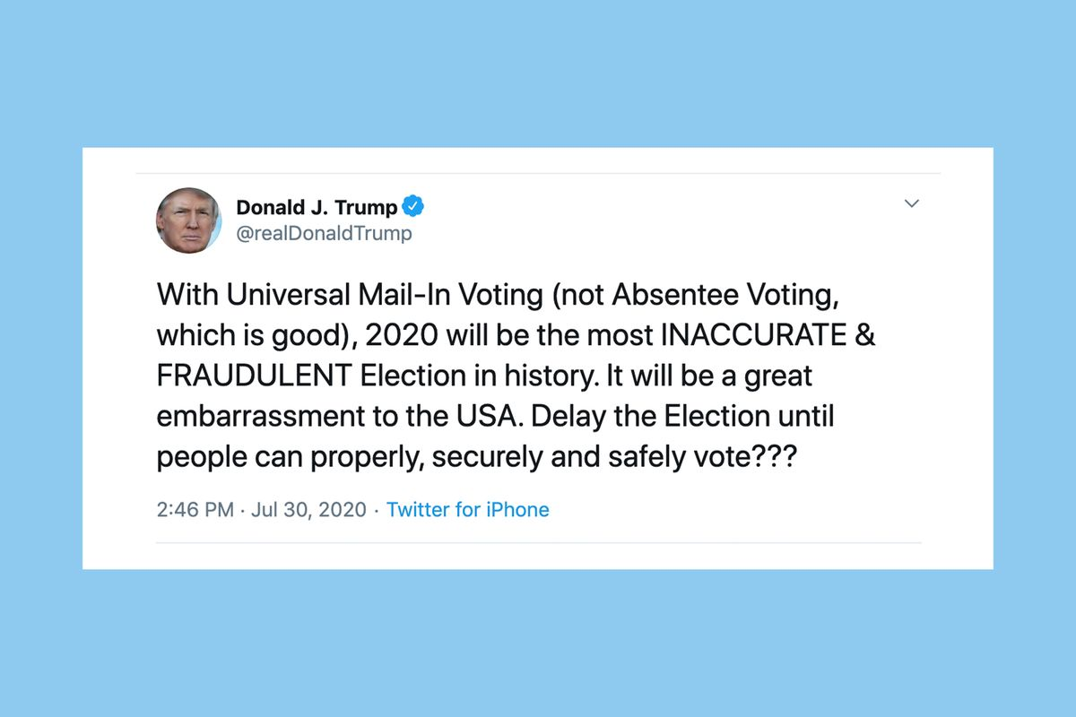 """Trump tweets proposal to """"delay the election"""", citing mail-in voting fraud"""