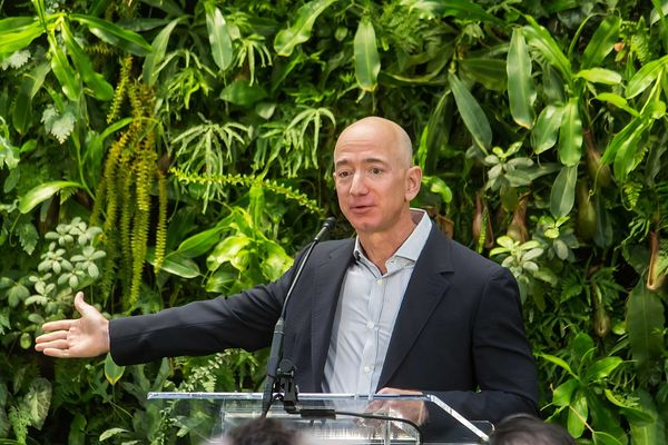 Jeff Bezos at Amazon Spheres Grand Opening in Seattle, 2018