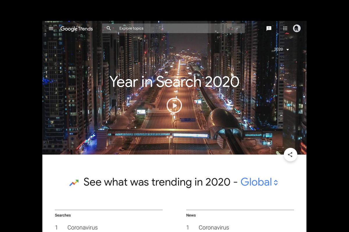 """Google releases """"Year in Search 2020"""""""