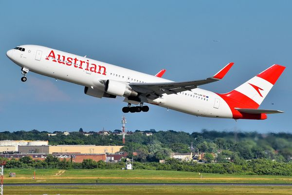 An Austrian Airlines Boeing 767-300ER departing JFK Airport