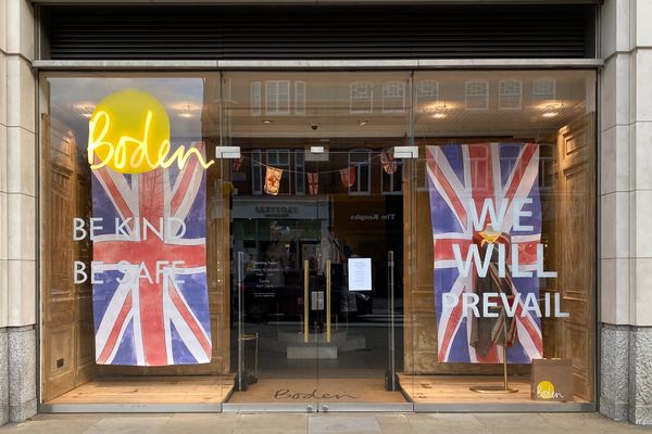 Window of a closed fashion store, Boden, Chelsea. The store is closed due to the covid 19 pandemic.