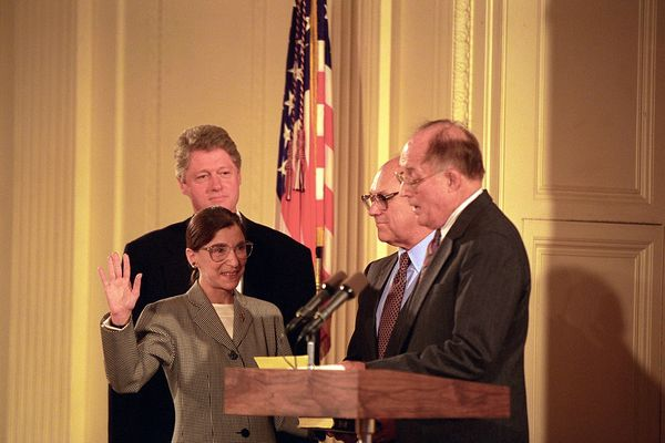 Chief Justice William Rehnquist Administers the Oath of Office to Judge Ruth Bader Ginsburg as Associate Supreme Court Justice at the White House, 1993
