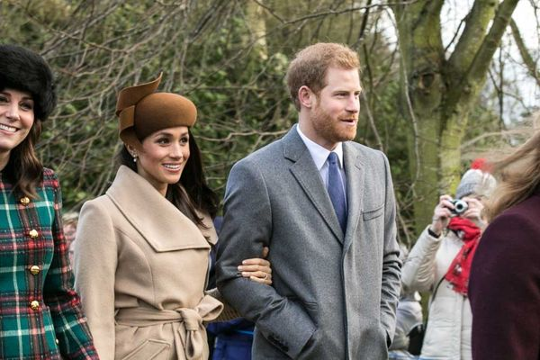 Prince Harry and Meghan Markle with other members of the Royal family going to church at Sandringham on Christmas Day 2017.