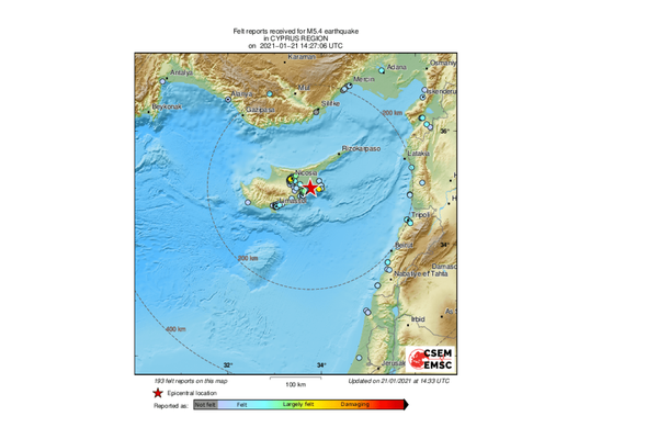 An earthquake of magnitude 5.1 strikes 40 km southeast of Nicosia, Cyprus