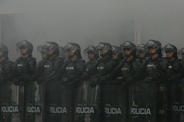 Police officers in Bogota, Colombia