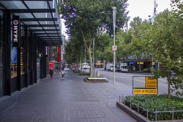 Empty Swanston Street during Friday morning, Melbourne