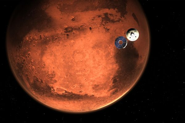 This illustration shows NASA's Perseverance rover casting off its spacecraft's cruise stage