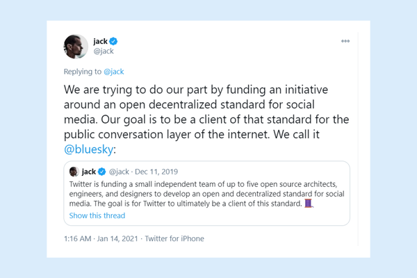 "Twitter CEO announces funding of ""an initiative around an open decentralized standard for social media"""
