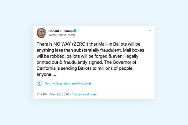 """Screenshot of Trump's Tweet begin tagged with """"Get the facts about mail-in ballots"""""""