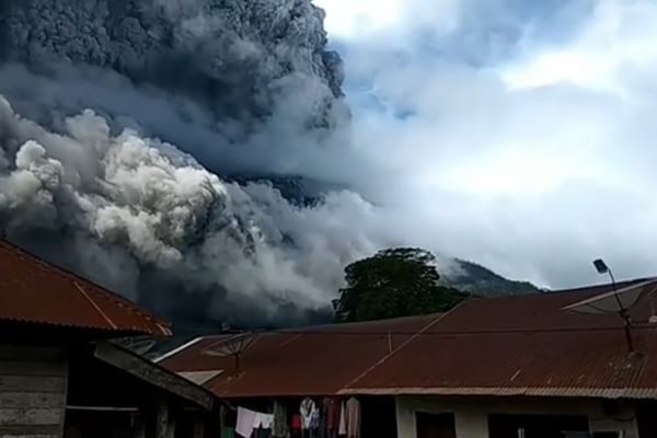 Mount Sinabung Volcano in Indonesia erupts