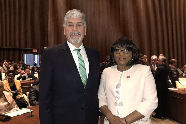 Carissa Etienne with Eric Hargan at her re-inauguration for WHO Regional Director for the Americas and Pan American Health Organization Director