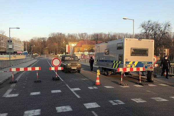 Closed border crossing between the Czech Republic and Poland during the COVID-19 pandemic