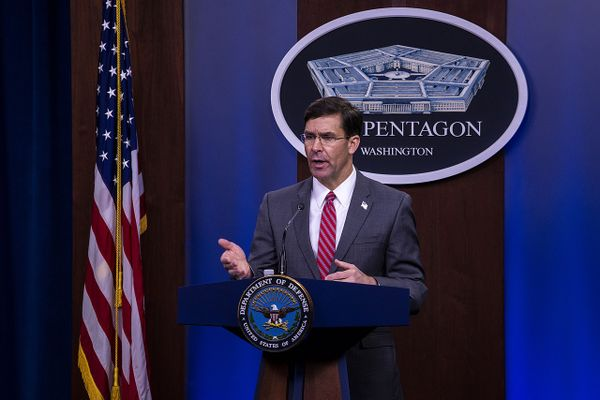 Defense Secretary Dr. Mark T. Esper holds a news conference at the Pentagon, June 3, 2020