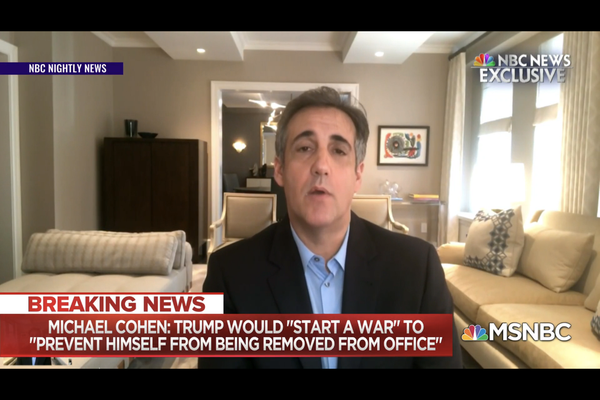 "Michael Cohen says Trump would ""start a war"" to prevent being removed from office"