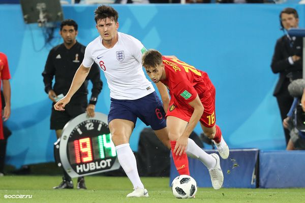 Harry Maguire playing for England against Belgium at the 2018 FIFA World Cup