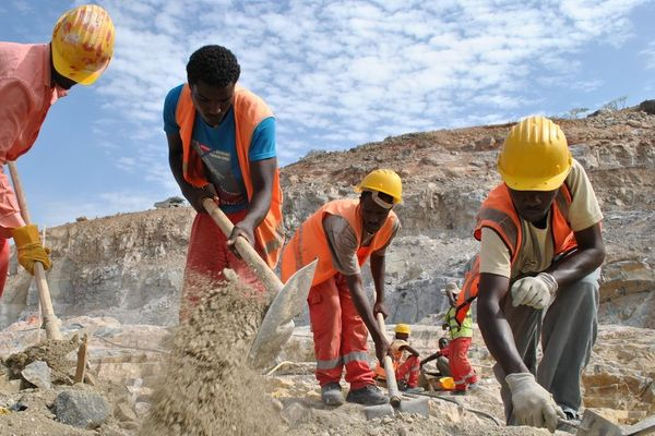 Men at work on the Grand Ethiopian Renaissance Dam project.