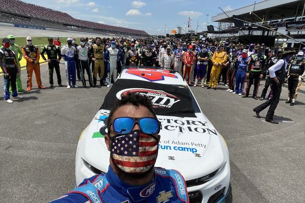 Bubba Wallace with other Nascar drivers