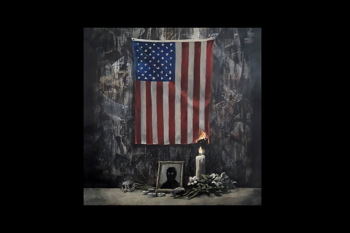 New artwork by Banksy depicts US flag on fire in a George Floyd tribute